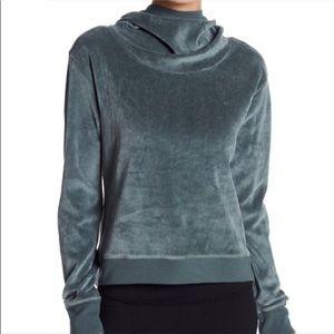 Zella Grey Green Velvet Velour Hooded Pullover